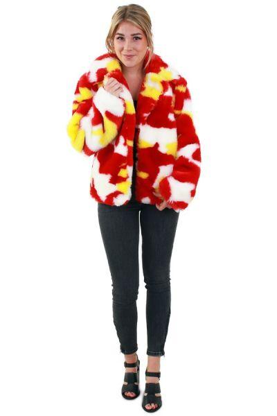 Damen Pelzmantel Camouflage rot weiß gelb