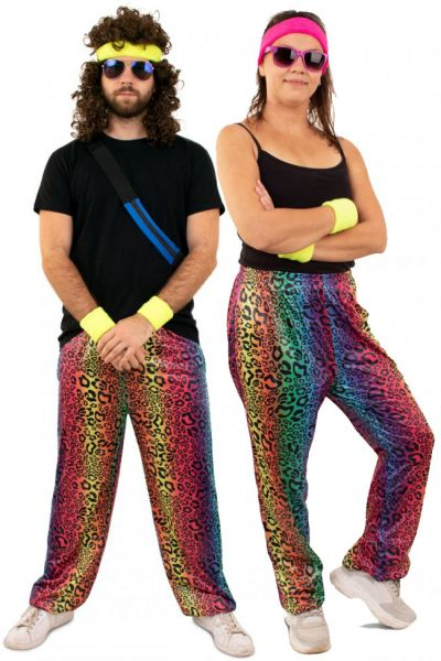 Hippie-Jogginghose mit Neon-Leopardenmuster