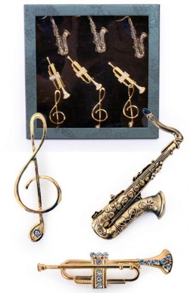 9 Broschen Musikinstrumente