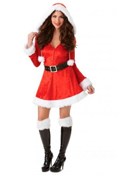 Sexy Weihnachtskleid mit roter Kapuze
