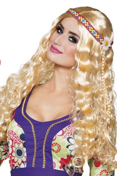 Hippie Perücke mit Stirnband blond