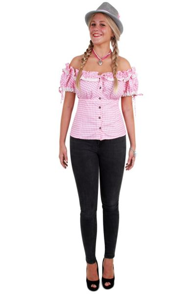 Oktoberfest Tiroler Bluse rosa weiß Damen
