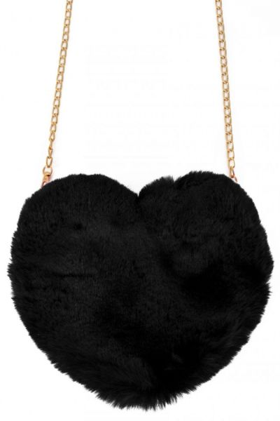 Tasche Plüsch Herz schwarz