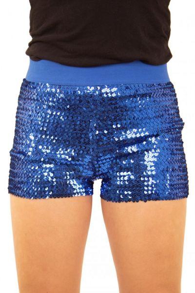 Hotpants mit Pailletten blau