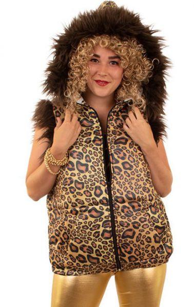Steppweste Leo Print Kapuze Fell Animal Print 80er 90er Jahre Trash Bad Taste Kostüm JGA