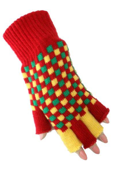 Fasching Fingerlose Handschuhe rot gelb grün kariert