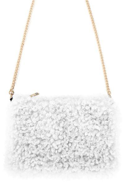Weiße Tasche mit Locken