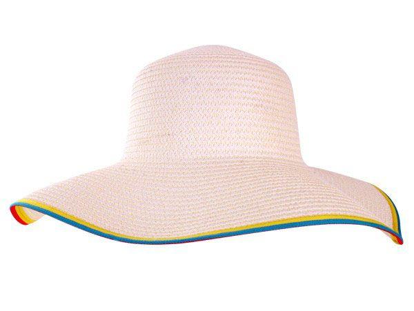 Strand Hut weiß mit farbenen Rand