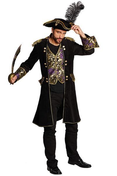 Piratenmantel schwarz Brokat Männer