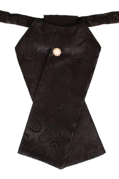 Stock Krawatte Brokat Stoff schwarz Jabot