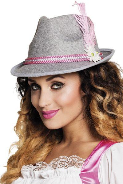 Oktoberfest Dirndl grauer Hut mit rosa