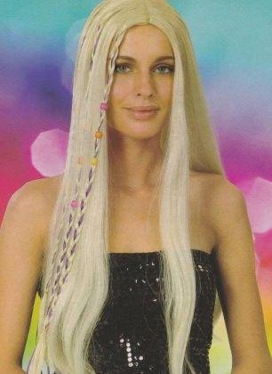 Damen Perücke lang Flower Power Haar