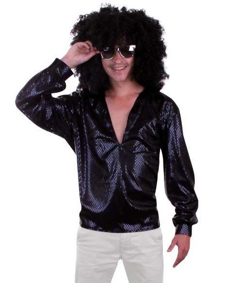 70s 80s Glitter disco blouse black sequins